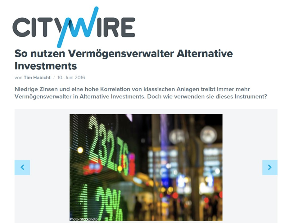So nutzen Vermögensverwalter Alternative Investments