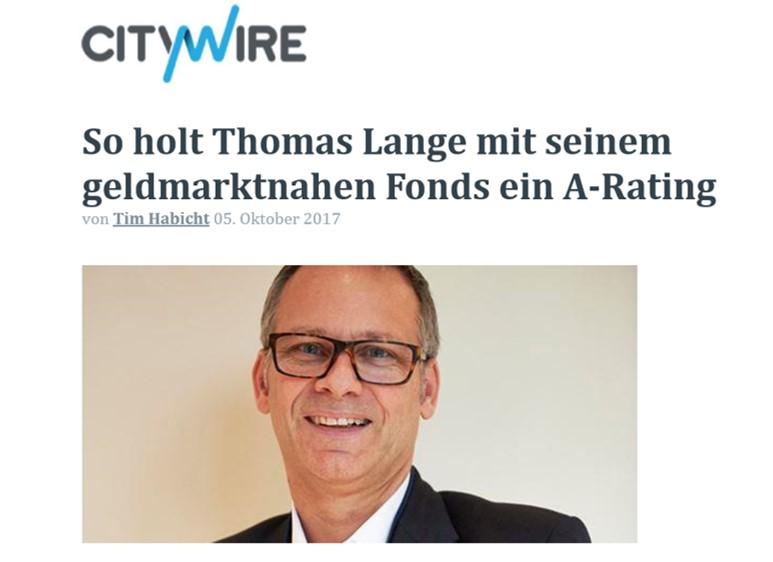 So holt Thomas Lange mit seinem geldmarktnahen Fonds ein A-Rating