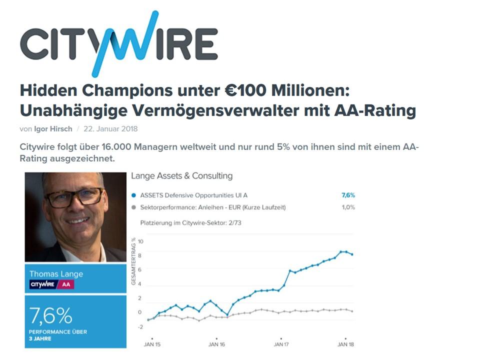 Hidden Champions unter €100 Millionen: Unabhängige Vermögensverwalter mit AA-Rating